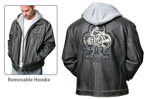 Jimmy Shine Leather Jacket with Removable Hood
