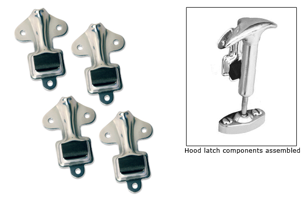 1928 1929 Model A Ford Hood Latch Kit Black Complete with Pads /& Screws